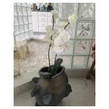 Large fish stand with faux orchid. $89