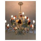 Wrought iron chandelier with faux roses. $150