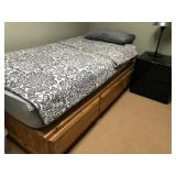 Pine Twin Bed w/Drawers - mattress not included