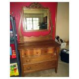 Upstairs 1st Left Bedroom Left: Vintage Oak Serpentine Dress w/Mirror