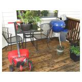 Back Deck: Spreader, Wire Table w/2 Chairs, Grill,