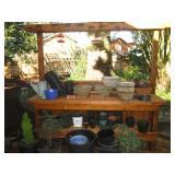 Back Deck: Hanging Wood Baskets, Pots