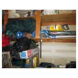 Garage: Coleman Stove, Sleeping Bag Pads, Tent Sleeping Bags, Miter Saw,