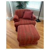 OVERSIZED UPHOLSTERED CHAIR AND OTTOMAN $625