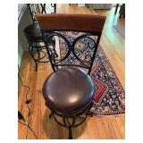LEATHER SEAT METAL BAR STOOLS (2) $175 PAIR