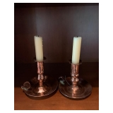COPPER HAND HAMMERED CANDLE STANDS $75