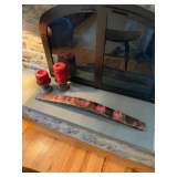 PAIR OF WOOD CANDLE STANDS $20 AND LONG CANDLE HOLDER $45