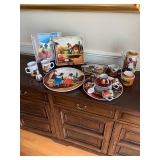 MEXICAN POTTERY LUNCHEON SET Coffee Pot, Creamer/Sugar, Expresso Set, 2 Mugs, Bell, Platters and $85