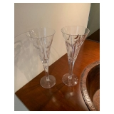 """PAIR OF WATERFORD """"HEARTS"""" CHAMPAGNE FLUTES $40"""
