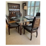 GLASS TOP OVER STONE BASE TABLE AND 4 LEATHER CHAIRS $500