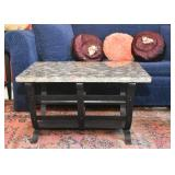 Vintage Cocktail / Coffee Table (Metal Base with Stone Top)