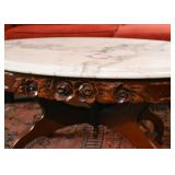 Vintage Cocktail / Coffee Table (Carved Wood Base with Marble Top)