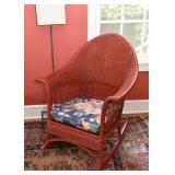 Red Wicker Rocking Chair / Rocker