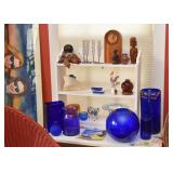 White Painted Wall Shelf, Cobalt Blue Glassware, Collectibles