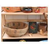 Baskets, Needlepoint Bookend, Wooden Top