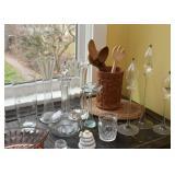 Wooden Utensils, Glassware, Vases, Candlesticks, Etc.
