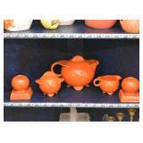 Vintage Orange Pottery Tea Set & Candlesticks