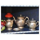 Vintage Etched Silver Plate Tea Set