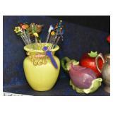 Art Glass Vase, Cocktail Stirrers, Mini Eggplant Teapot