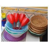 Plastic Wine Glasses & Bowls, Baskets