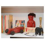 Wooden Toy Car, Voodoo Doll, Wood Carved Elephant, Brass Candlestick