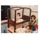 Antique / Vintage Wooden Doll Bed, Dolls