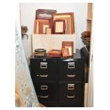 Picture Frames, Pair of Black Metal 2-Drawer File Cabinets