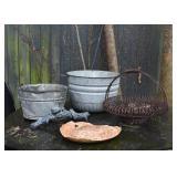 Galvanized Tubs, Metal Garden Basket Planter, Garden Decor
