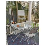 Square Garden / Patio Dining Table & 4 Folding Chairs