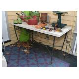 Vintage Metal Table Base with Laminate Top