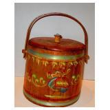 Paintet Decorated  Wooden Bucket