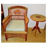 Wicker Chair & Matching Table