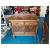 Beautiful Antique Carved Wood Flatware Chest