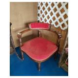 Antique Red Corner Chair