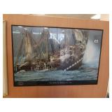 Nautical print framed with glass