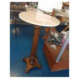 Vintage marble top oak pedestal