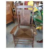 Dark Wood Wicker Rocking Chair