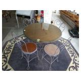 Beautiful Round Vintage Iron Parlor Table & Chairs