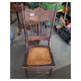Beautiful Antique Oak Leather Bottom Chair