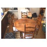 Oak, Table, 4 Chairs, Oak Twine Bottom Ladderback