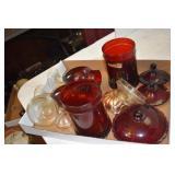 Royal Ruby, 2 Dresser Jars w lids, other