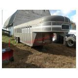 Keifer Built goose neck livestock trailer, 2 compa