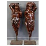2 Antique and Life Size Carved Wood Figures .