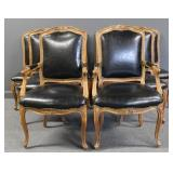 8 Fine Quality Leather Upholstered Louis XV Style