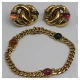 JEWELRY. 18kt Gold and Colored Gem Cabochon Suite.