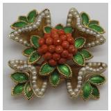 JEWELRY. French 18kt Gold, Enamel, Pearl, & Coral