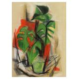 WEBER, Max. Pastel on Paper. Potted Plant.