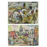 BURLIUK, David. Double Sided Watercolor. Circus