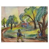 BURLIUK, David. Watercolor. Figures on a Path