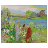 MOHR, Albert. Oil on Canvas. Gathering Flowers.